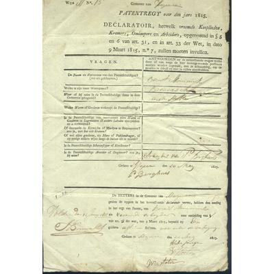 Arbeitserlaubnis (Patent) von 1815