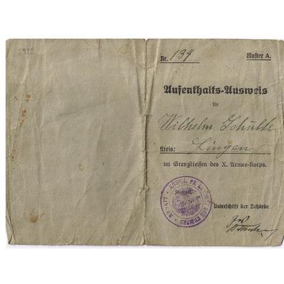 Ausweis von Wilhelm Schulte aus Emsbüren-Bernte, 1917