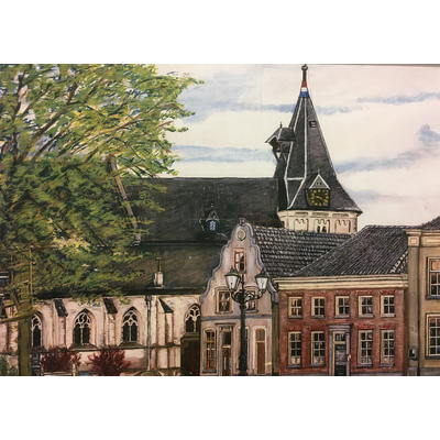 De N.H. Kerk van Aalten tijdens de Eerste Wereldoorlog met de Nederlandse vlag (1914-1918). Gezien vanaf de Markt.