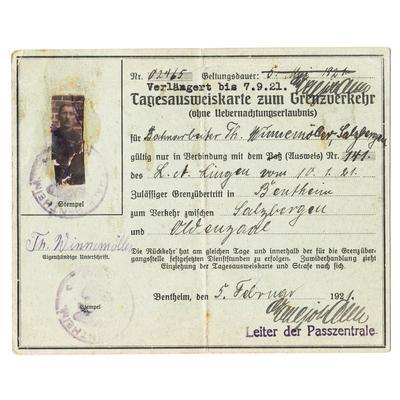 Tagesausweiskarte zum Grenzverkehr 1921
