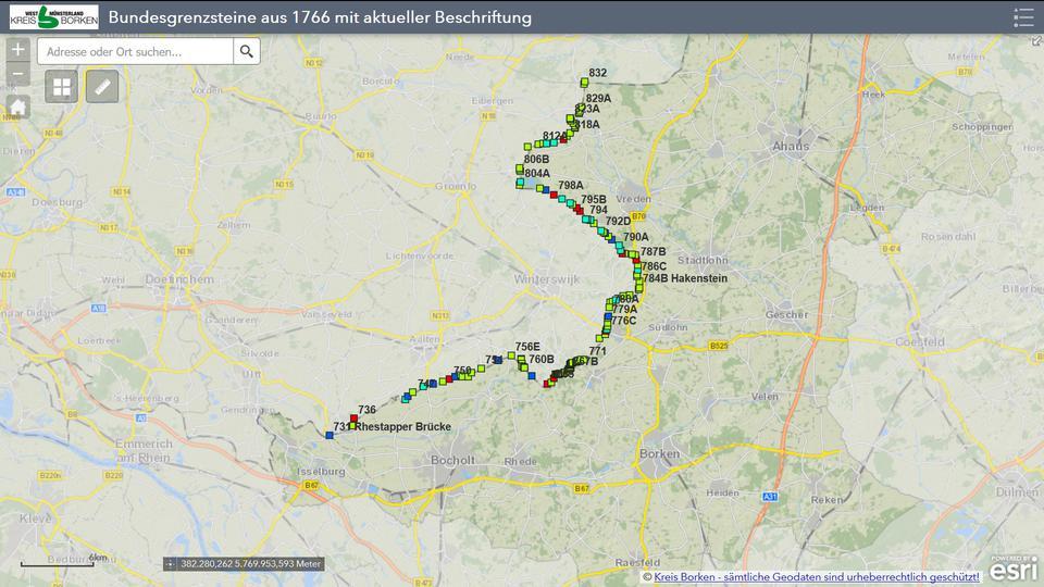 Karte Münsterland.Digitale Karte Der Bundesgrenzsteine Aus 1766 Euregio History Net